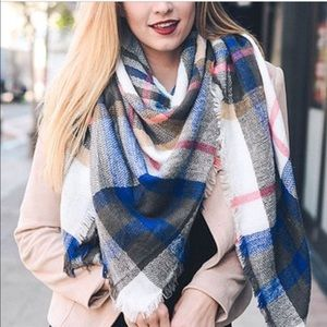 White & Blue Blanket Scarf